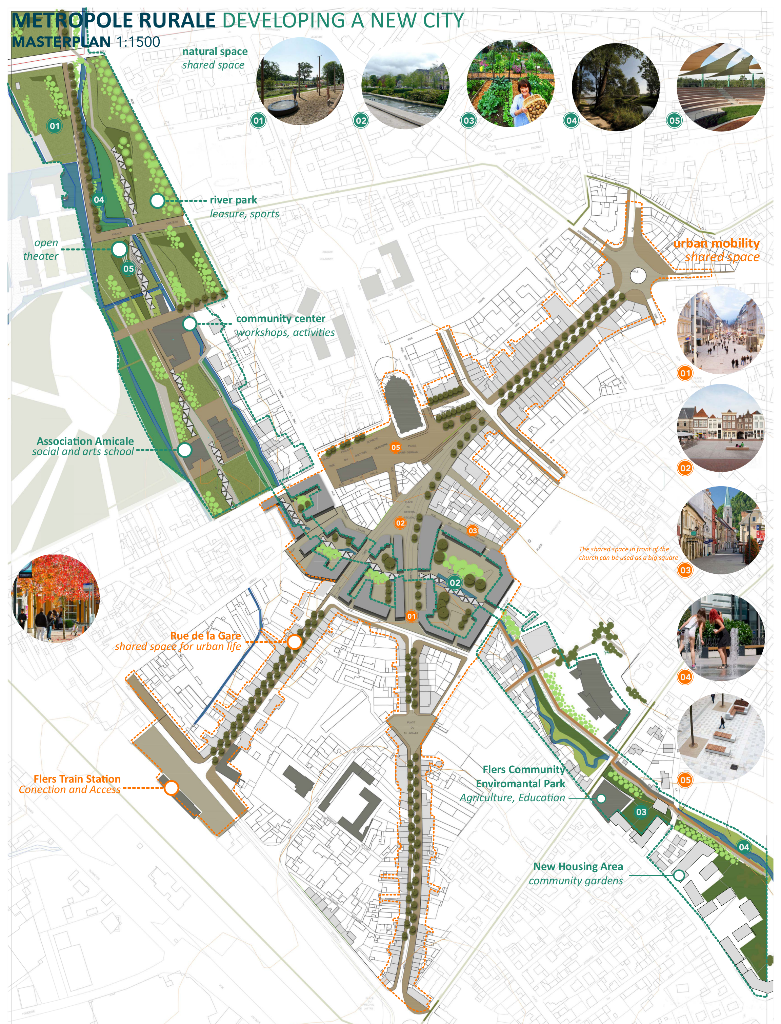 Masterplan du centre-ville de Flers - Proposition de l'équipe API City pour le Forum Mondial des Jeunes Architectes 2015